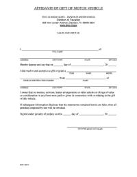 Bill Of Sale Form Rhode Island Affidavit Of Gift Of Motor ...