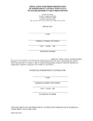 Workers Compensation Forms Maine State Of Maine Subcontractor Forms Fill Online