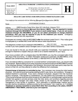 Arkansas Workers Comp Forms Workers Compensation Shop Fillable Online Insurance Arkansas Form Ar H Arkansas