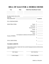 Mobile Home Bill Of Sale - Fill Online, Printable ...
