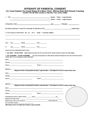 Required Documents For One Parent Traveling With Child Affidavit Of Parental Consent Fill Online Printable