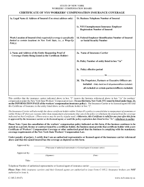 State Of New York Workers Compensation Board Image Of Workers Comp Insurance Certificate 2017 2018