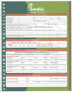 printable blank job application form blank job employment applications printable online forms chick fil a application