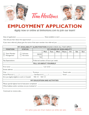 Tim Hortons Job Application Fill Online Printable Tim Hortons Job Application Fill Online Printable