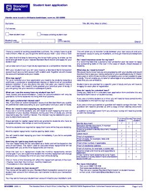 Standard Bank Student Loan Application Form Pdf - Fill Online, Printable, Fillable, Blank ...