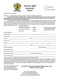 Softball Sponsorship Form - Fill Online, Printable ...