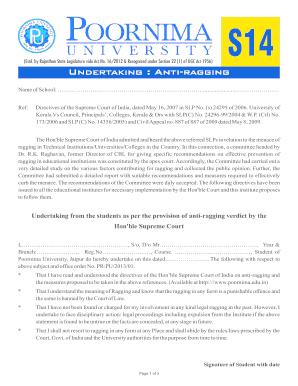 Form S14 Undertaking Anti-Ragging Fill Online, Printable, Fillable, Blank - debt-settlement ...