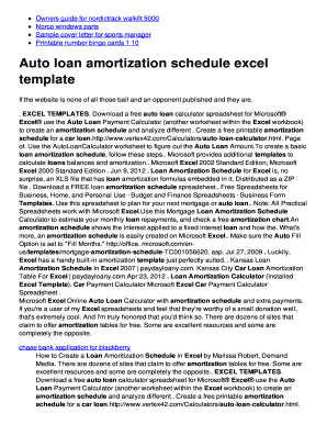 Fillable Online Auto loan amortization schedule excel template - twomini.com Fax Email Print ...