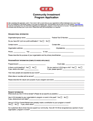 Jcpenney Online Job Application Heb Community Investment Program Fill Online Printable