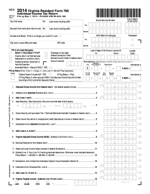 Virginia State Tax Return Form 760 Barcode