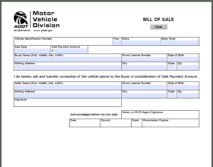 Arizona Bill Of Sale Form Free Fillable Pdf Forms
