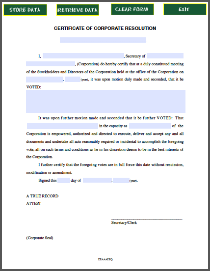 Certificate Of Corporate Resolution Free Fillable Pdf Forms