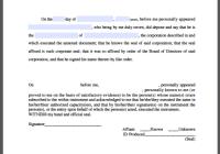 Corporate Acknowledgement Affidavit
