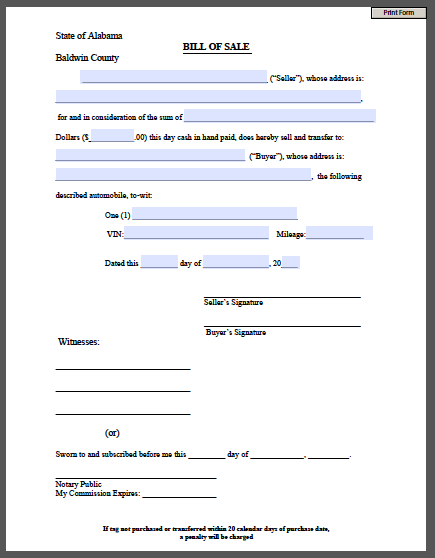 Printable Bill of Sale Form | Free Fillable PDF Forms