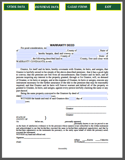 Warranty Deed Form Free Fillable Pdf Forms