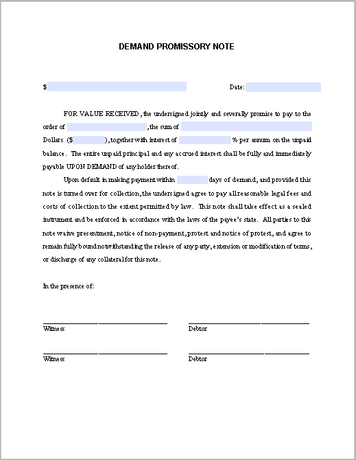 Demand Promissory Note Free Fillable PDF Forms