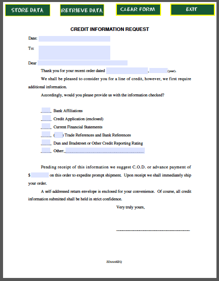 Credit Card Verification Form Bovegas Credit Information Request Letter Free Fillable Pdf Forms