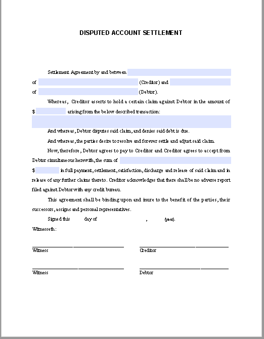 Debt Re-affirmation Agreement Sample | Free Fillable PDF Forms