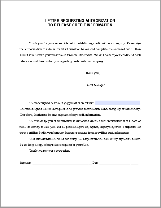 letter requesting authorization to release credit information free fillable pdf forms