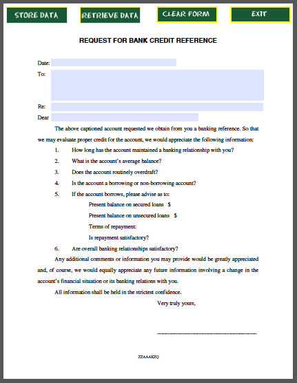Request Letter For Bank Credit Reference