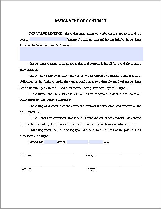 Assignment of Contract | Free Fillable PDF Forms