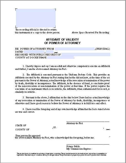 Affidavit of Validity of Power of Attorney | Free Fillable PDF Forms