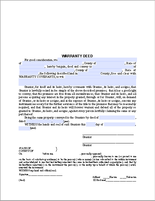 Warranty Deed Form – General Warranty Deed