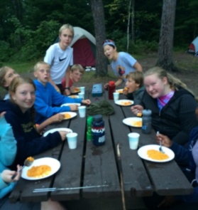 Dinner at Fenske Lake - Middle School Camping Trip