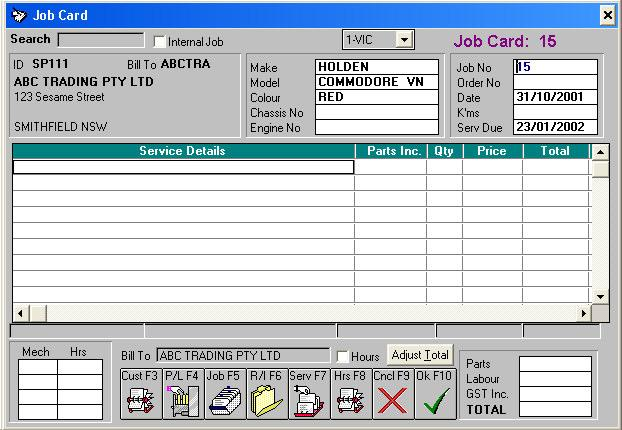 Job Card - Peach Software - job card
