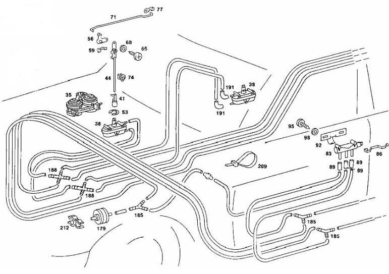mercedes benz w123 chassis vacuum locking system diagram