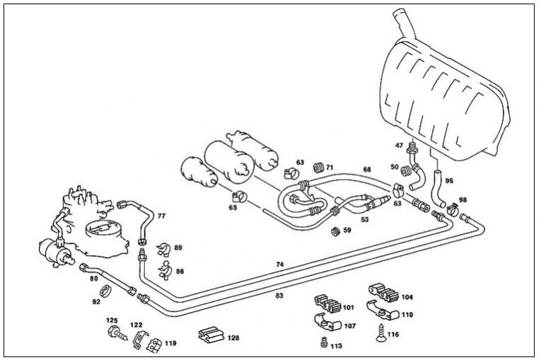 mercedes benz 300e fuel filter location