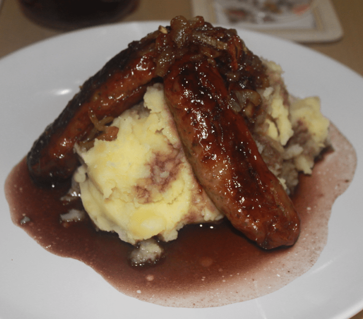 Posh Bangers & Mash with Caramelised Onions & Red Wine Jus