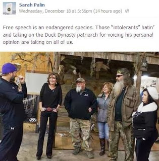 Sarah Palin's Duck Dynasty Facebook Post
