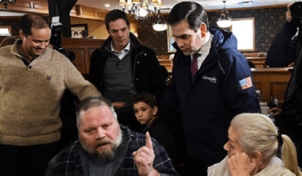 Rubio makes a gaffe at the Puritan Backroom diner speaking on gay marriage