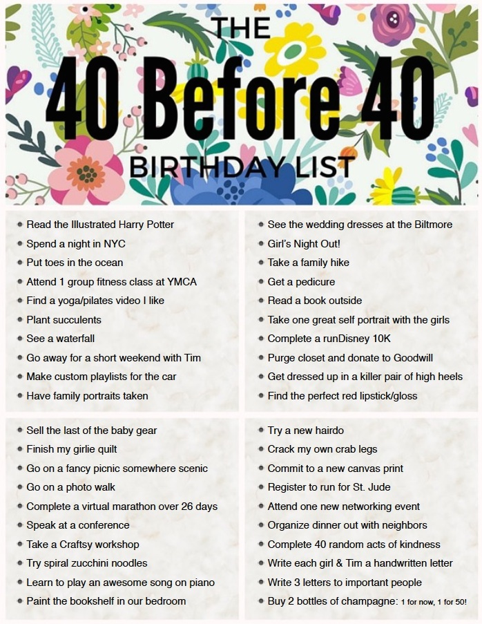 40 Before 40 a birthday bucket list for mom
