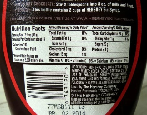 Hershey's Syrup Label