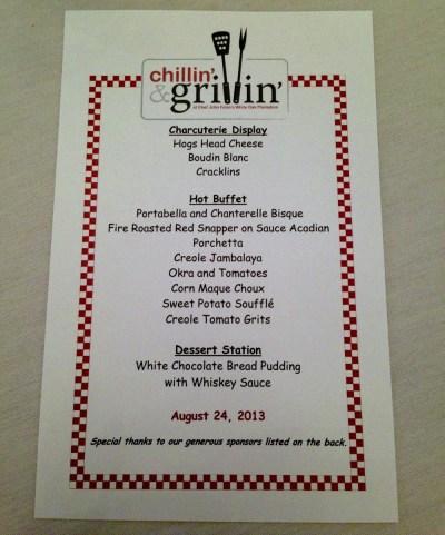 Chillin and Grillin Menu