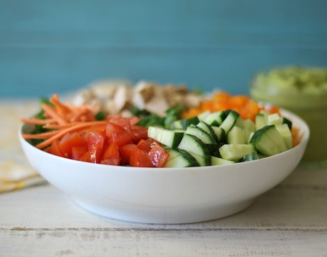 Chopped Chicken Garden Salad with Spicy Avocado Dressing