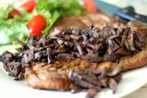 Pinot Noir Mushroom Reduction Sauce with T-Bone Steak