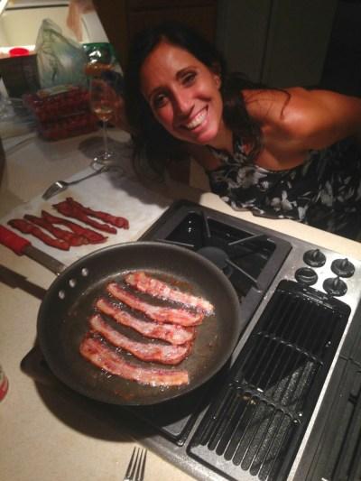 Denise making Bacon