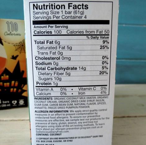Nutrition for So Delicous Pumpkin Ice Cream Bars