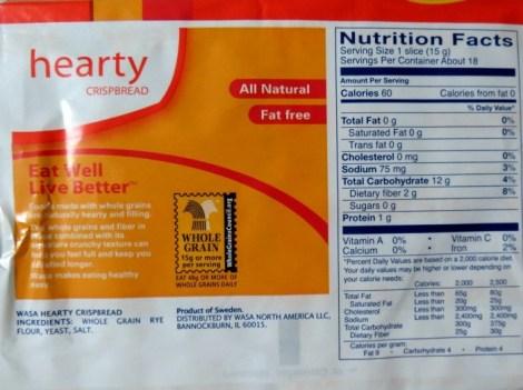 Wasa Crispbread Nutritional