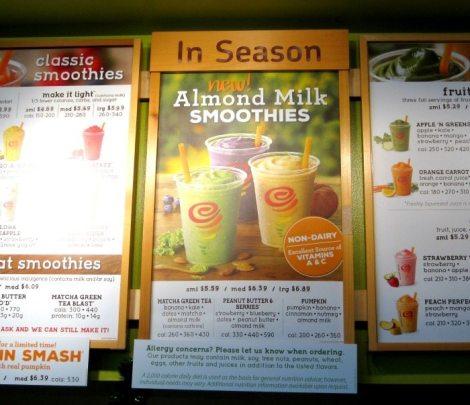 Jamba Juice Almond Milk Smoothies