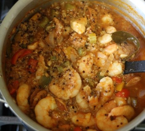 Chicken and Shrimp Quinoa Jambalaya #SundaySupper