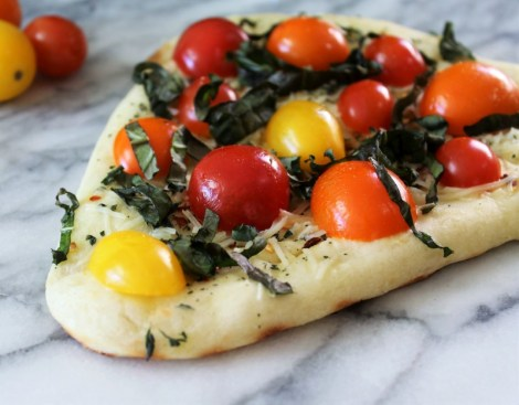 Tomato & Basil Grilled Naan Pizza