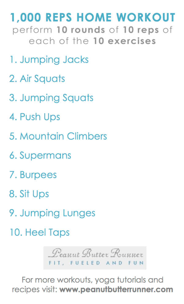 A workout that can be done at home featuring bodyweight movements and 1,000 reps of various exercises for a total body cardio and strength workout.