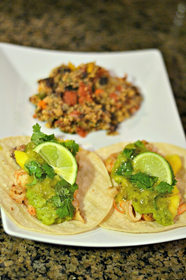 Shrimp and Calamari Tacos with Mexican Quinoa