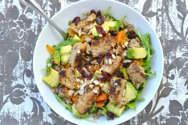 Healthy Gluten-Free grain salad with a turkey burger.