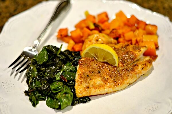 Sole with kale and roasted butternut squash