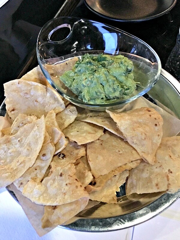 Chewy chips and guacamole at Comida